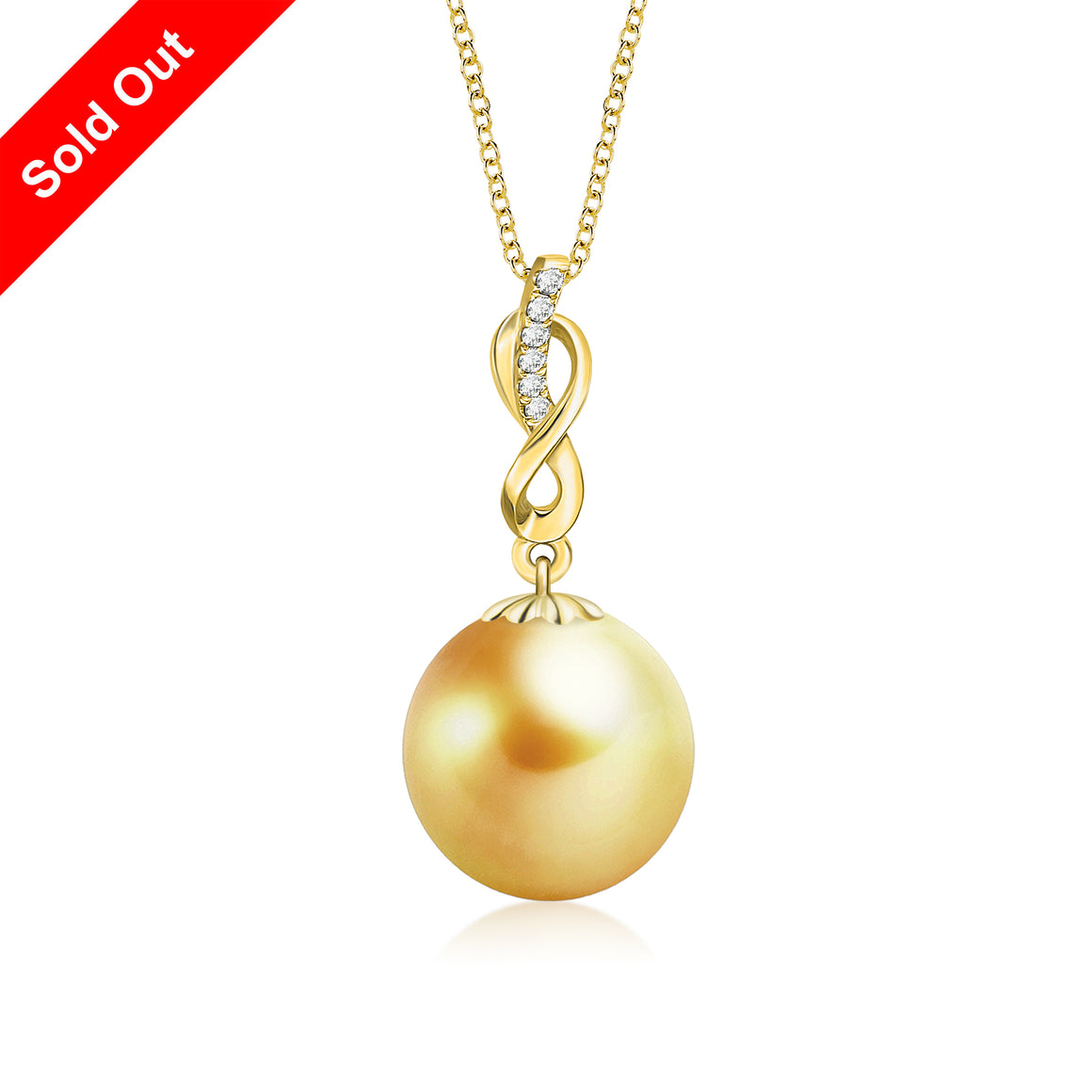 """Catherine, South Sea Gold Pearl & Diamond Pendant in 18K Yellow Gold"""