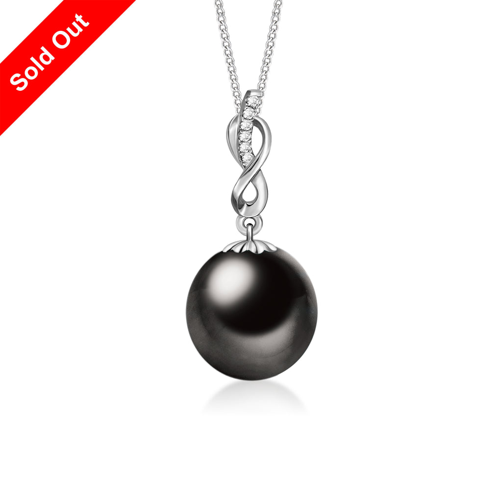 """Irene, Tahitian Pearl & Diamond Pendant in 18K White Gold"""