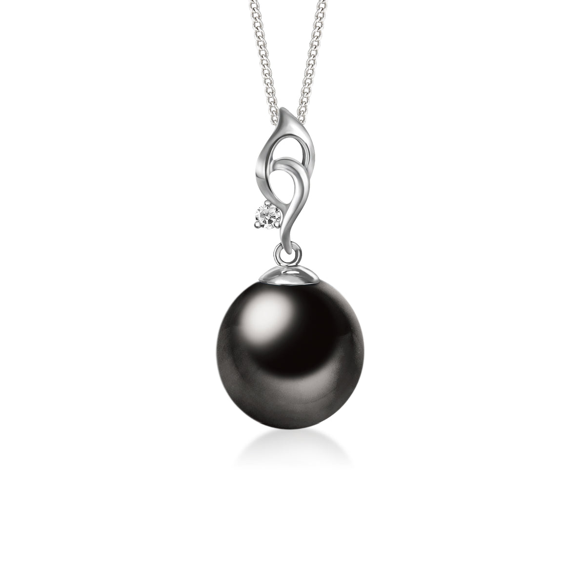 """Elisa, Tahitian Pearl & Diamond Pendant in 18K White Gold"""