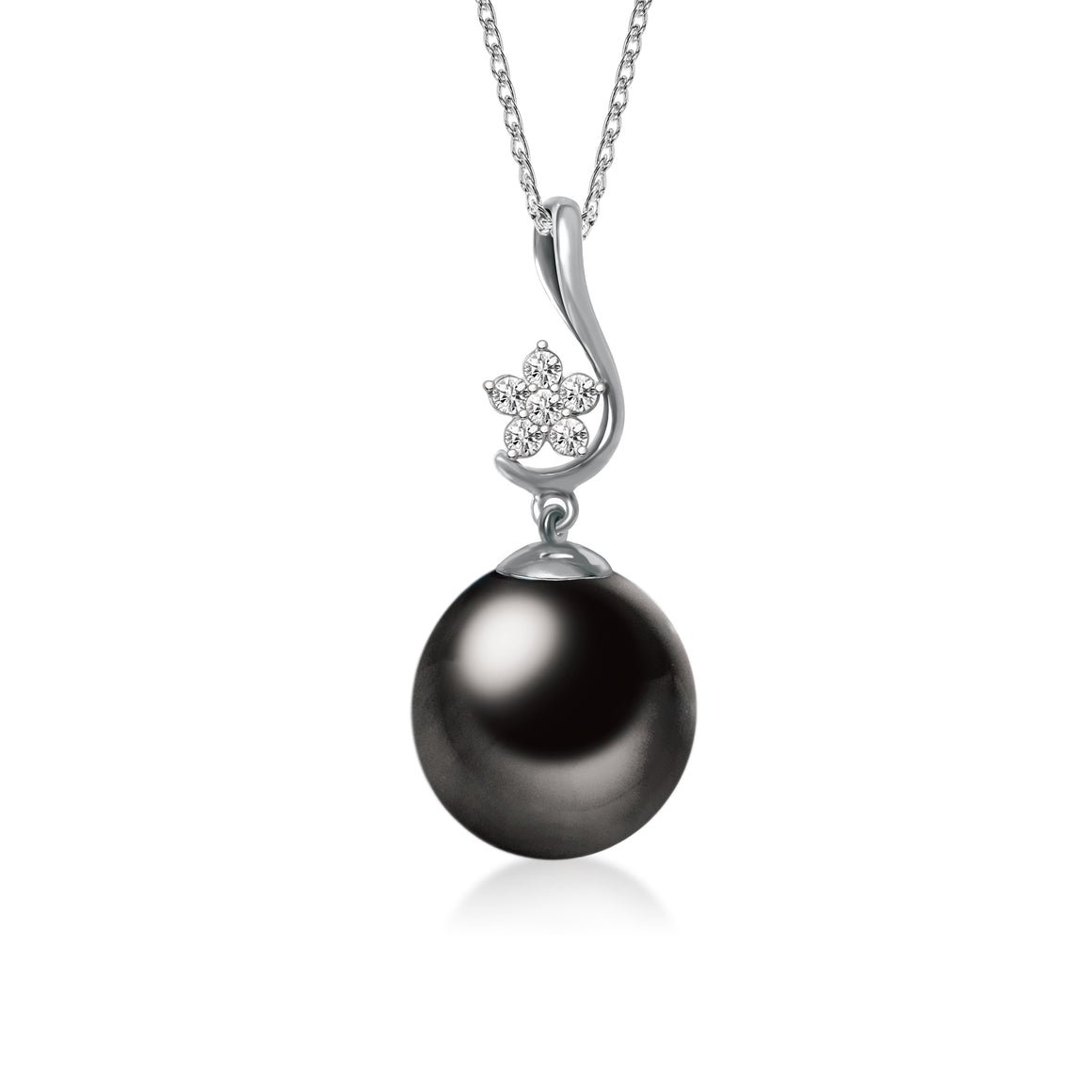 """Shining, Tahitian Pearl & Diamond Pendant in 18K White Gold"""