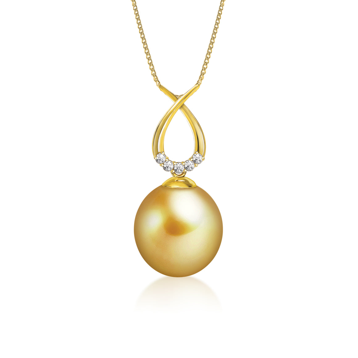 """Jessie, South Sea Gold Pearl & Diamond Pendant in 18K Yellow Gold"""