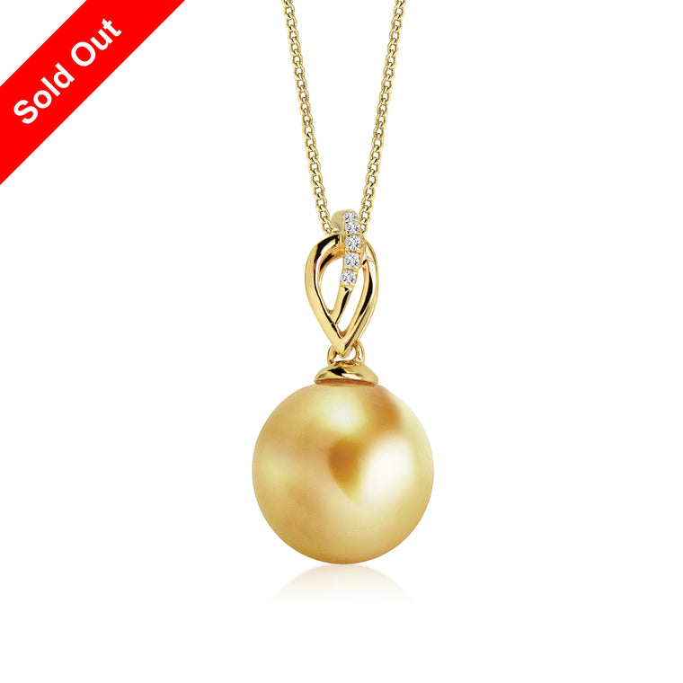 """Hailey, South Sea Gold Pearl & Diamond Pendant in 18K Yellow Gold"""
