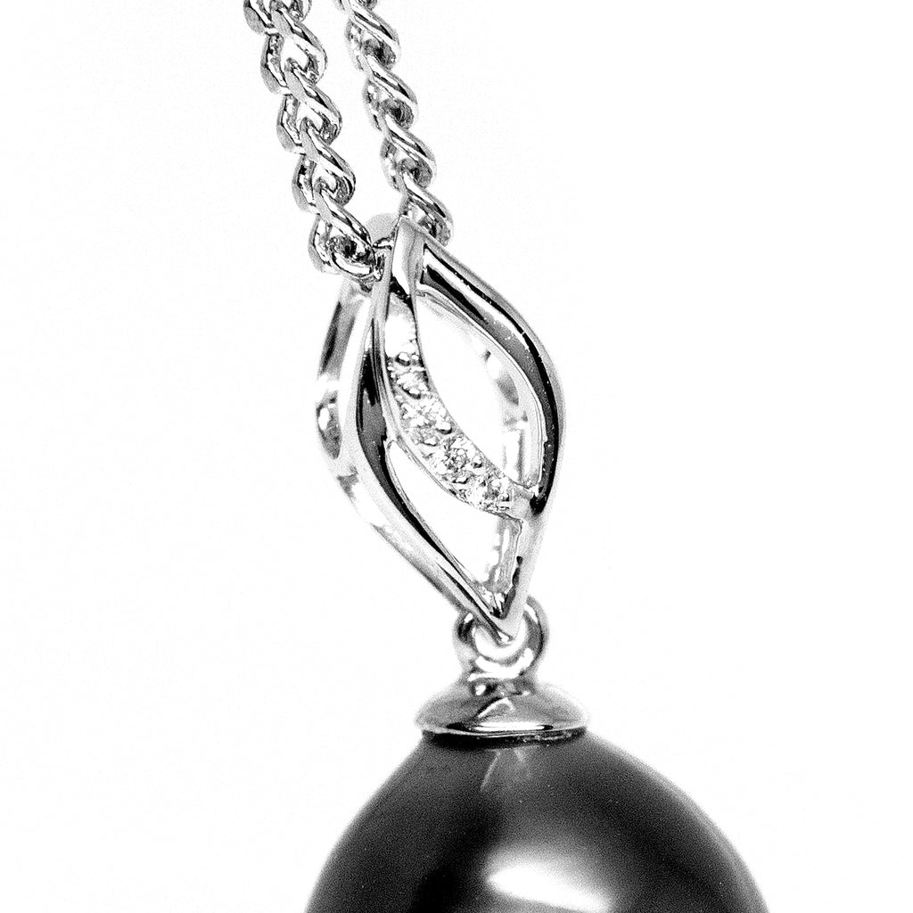 """Evelyn, Tahitian Pearl & Diamond Pendant in 18K White Gold"""