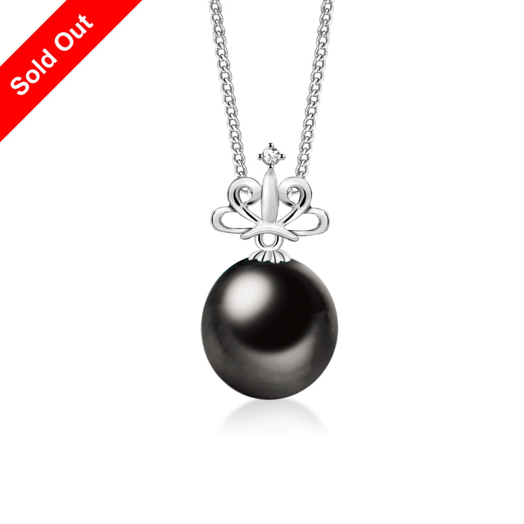 """Tiara, Tahitian Pearl & Diamond Pendant in 18K White Gold"""