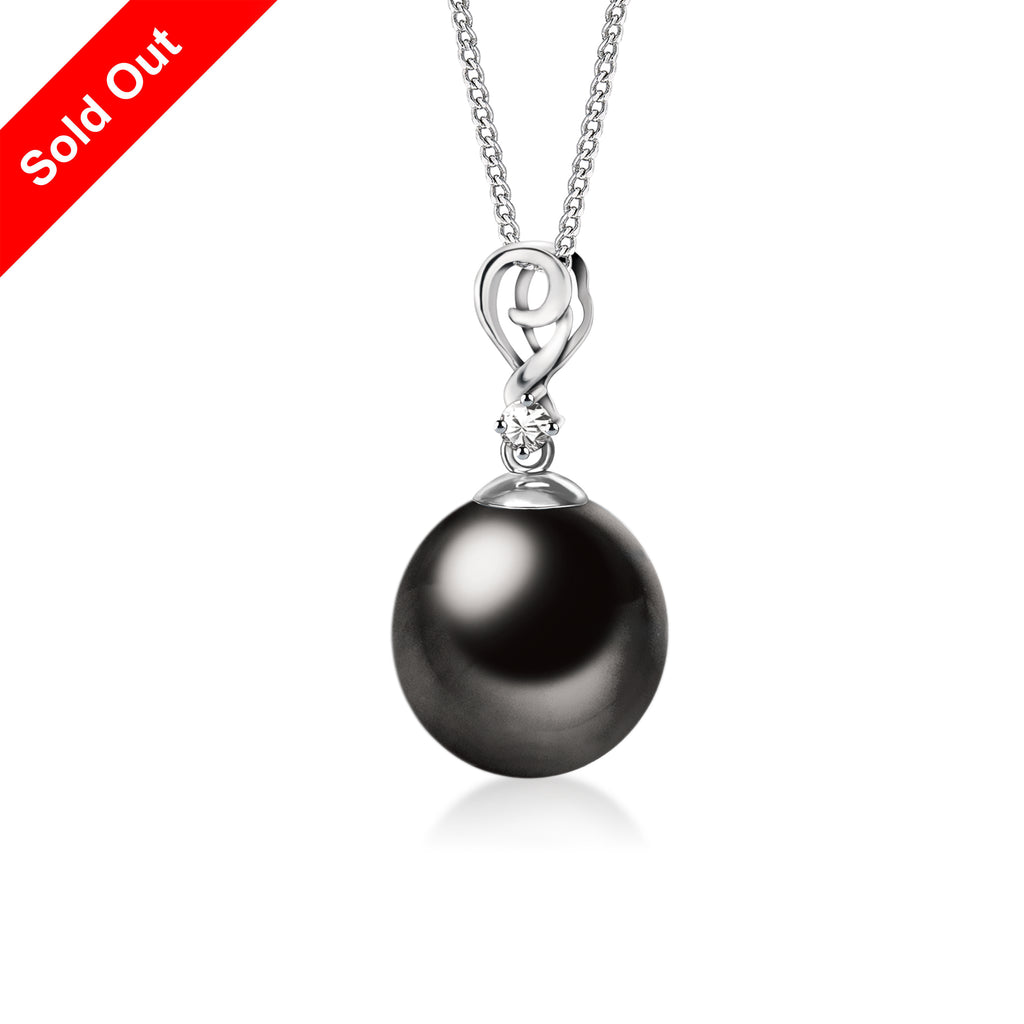 """Alvina, Tahitian Pearl & Diamond Pendant in 18K White Gold"""