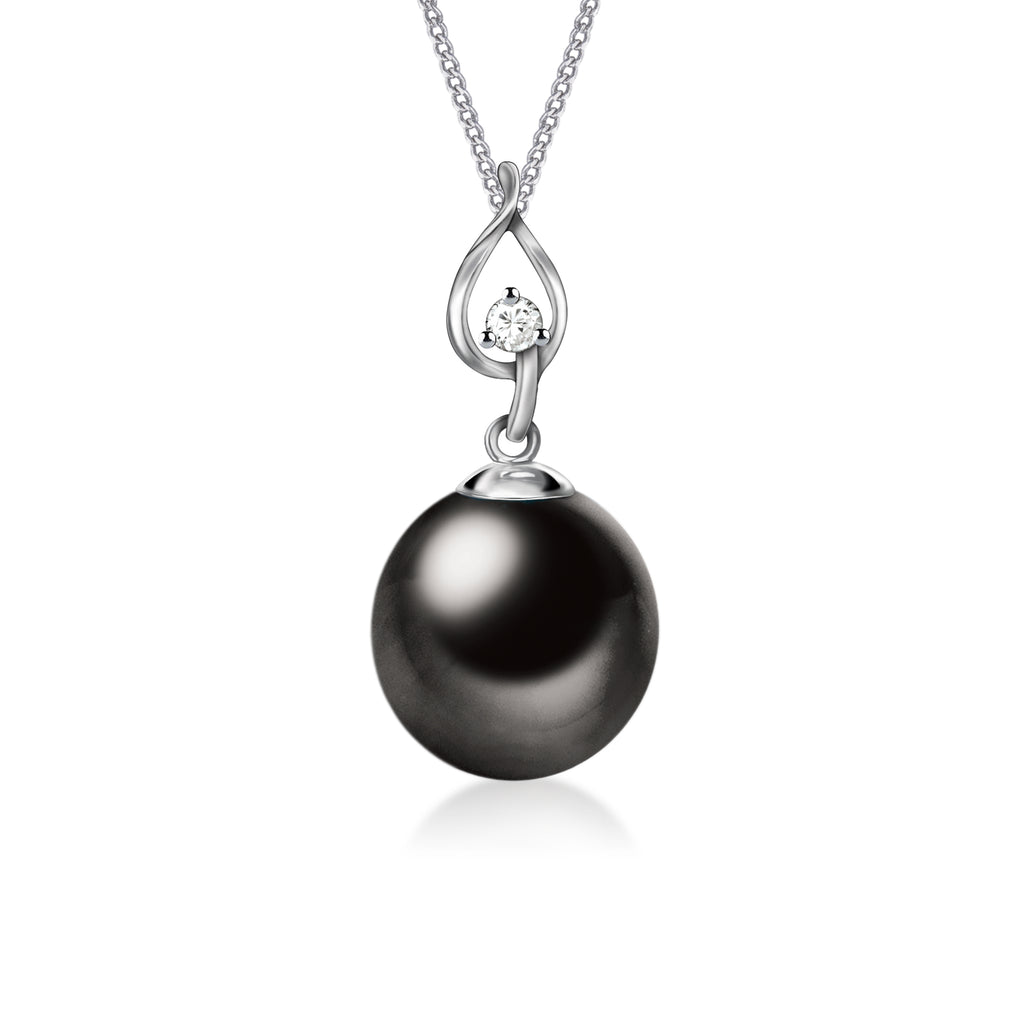 """South Pacific Exotic: Andrea""  18K White Gold & Diamond Tahitian Pearl Pendant"