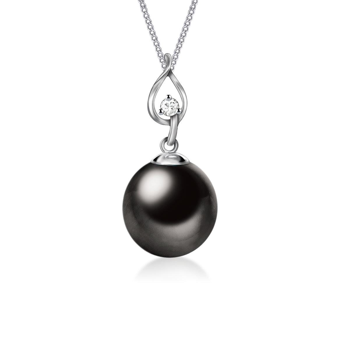 """Andrea, Tahitian Pearl & Diamond Pendant in 18K White Gold"""