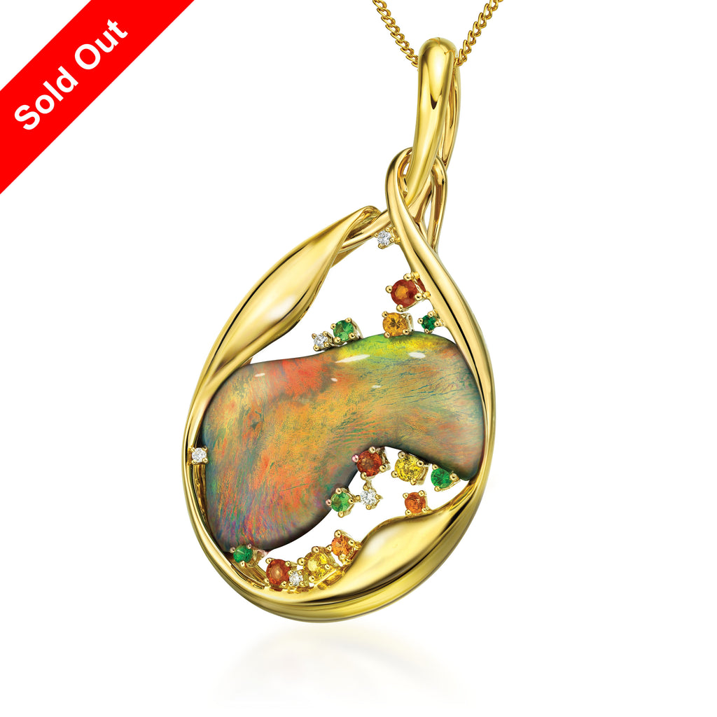 18K Yellow Gold & Diamond Australian Black Opal Pendant
