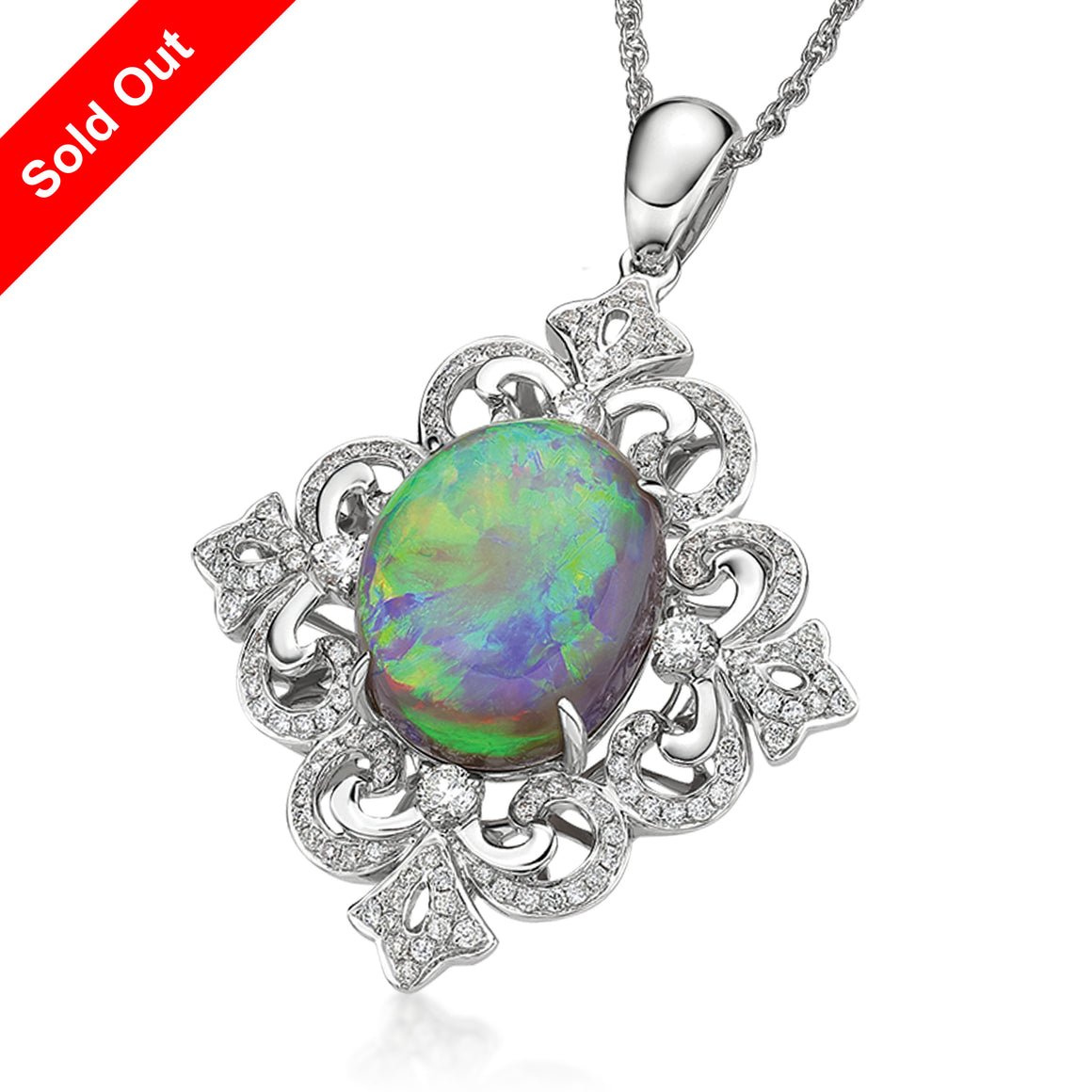 18K White Gold & Diamond Australian Black Opal Pendant