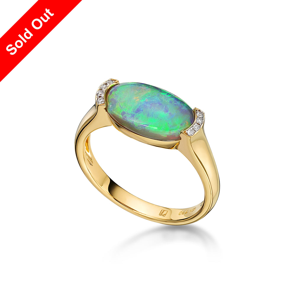 18K Yellow Gold & Diamond Australian Black Opal Ring