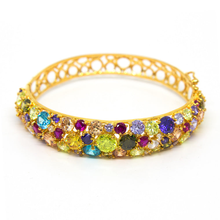 """Glitter Glamour"" 18K Gold Plating Crystal Bangle"