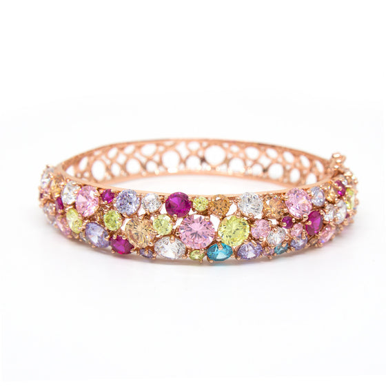 """Glitter Glamour"" Rose Gold Plating Crystal Bangle"