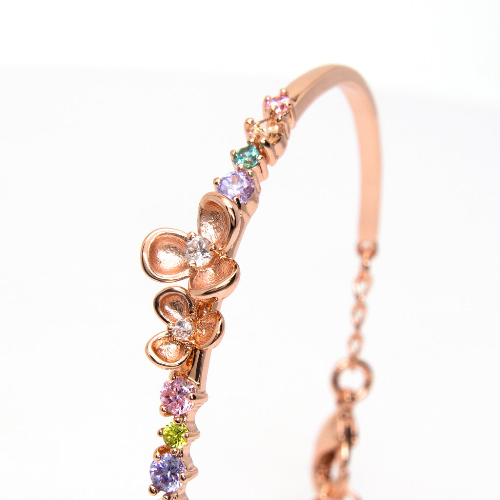 """Eden"" Rose Gold Plating Crystal Bangle"