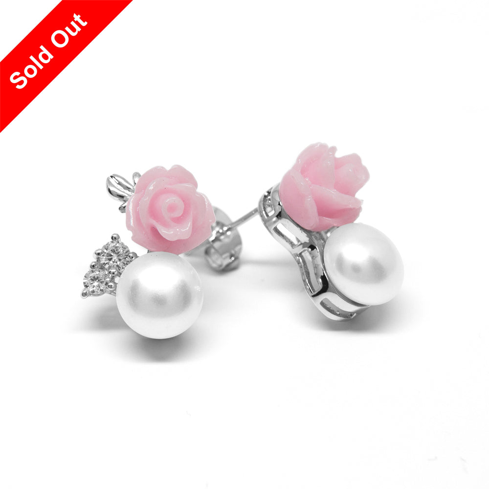 ''La Vie en Rose'' Cultured Pearl Earrings