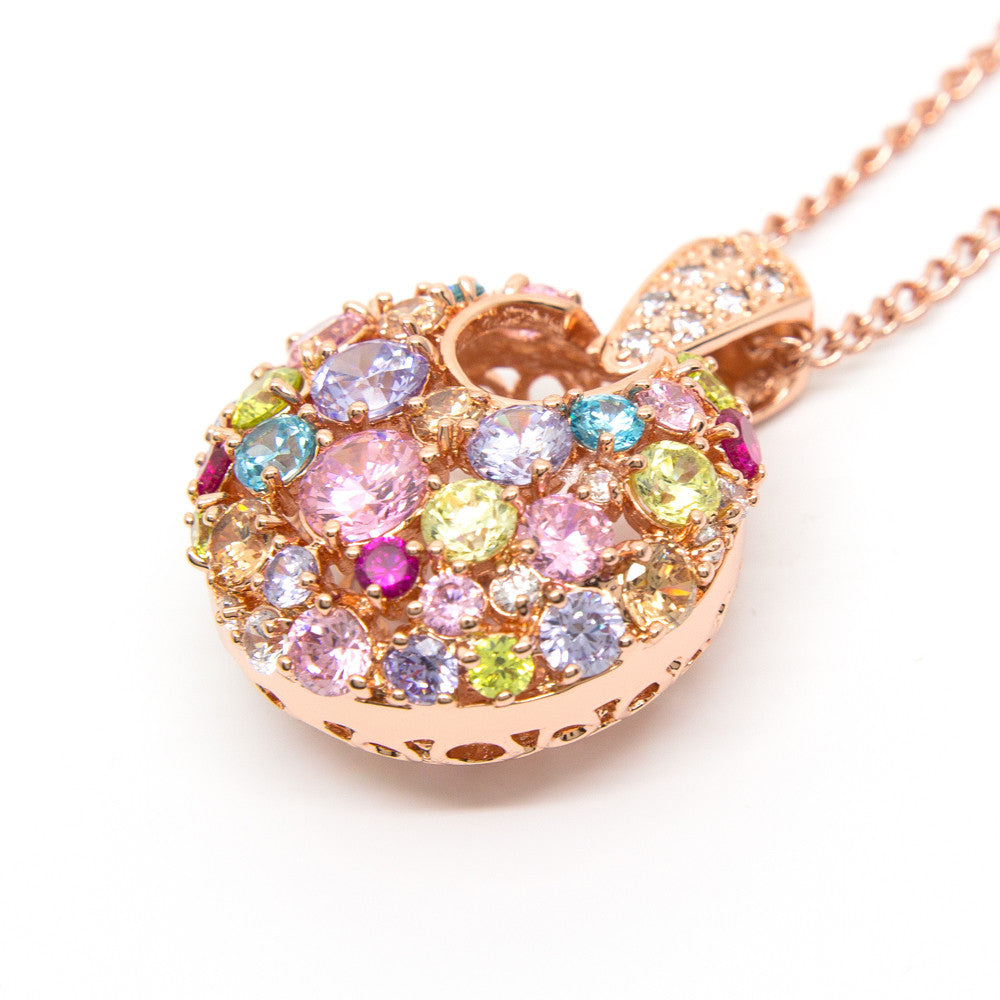 """Glitter Glamour"" Rose Gold Plating Crystal Pendant"