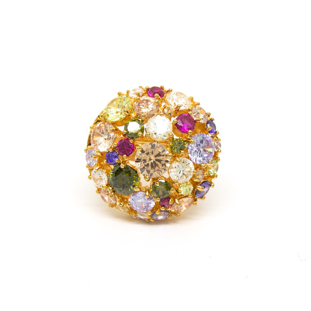 """Glitter Glamour"" 18K Gold Plating Crystal Ring"