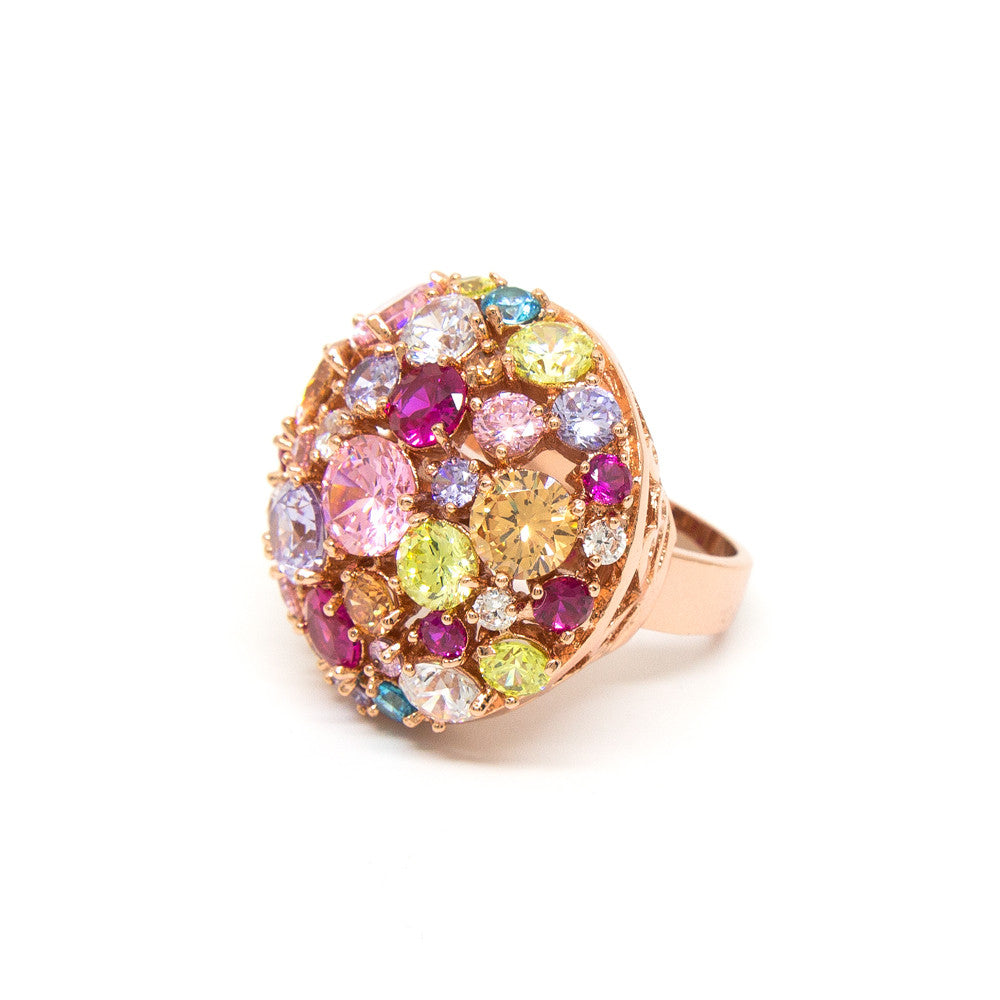 """Glitter Glamour"" Rose Gold Plating Crystal Ring"