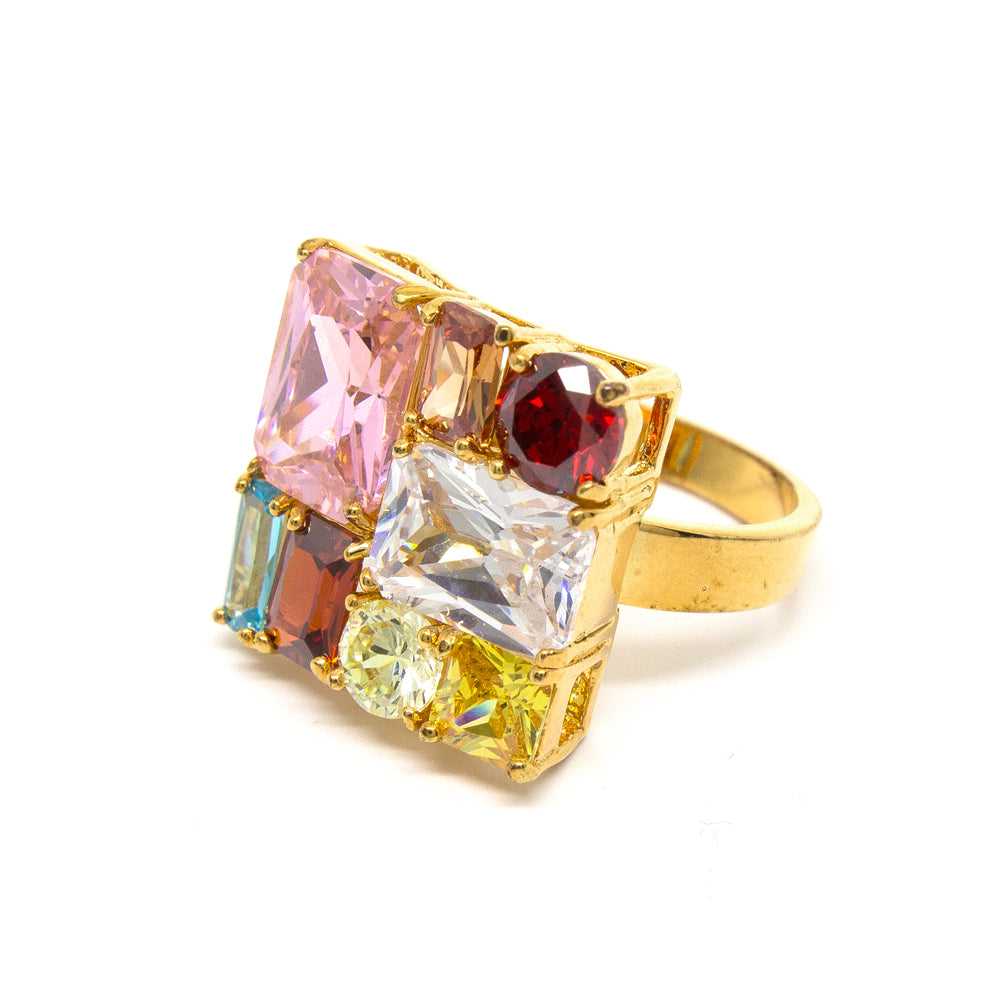 """Glitzy Ritzy"" 18K Gold Plating Crystal Ring"