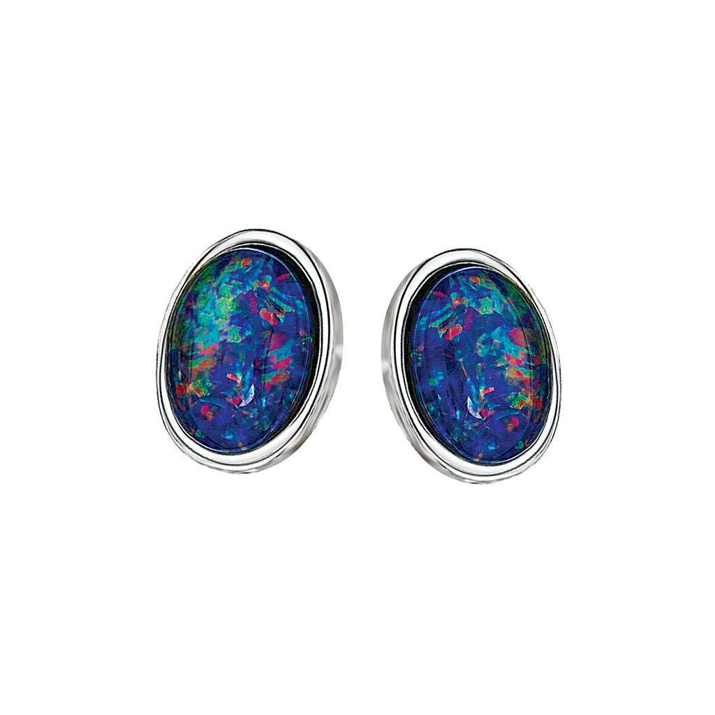 Australian Triplet Opal Sterling Silver Earrings