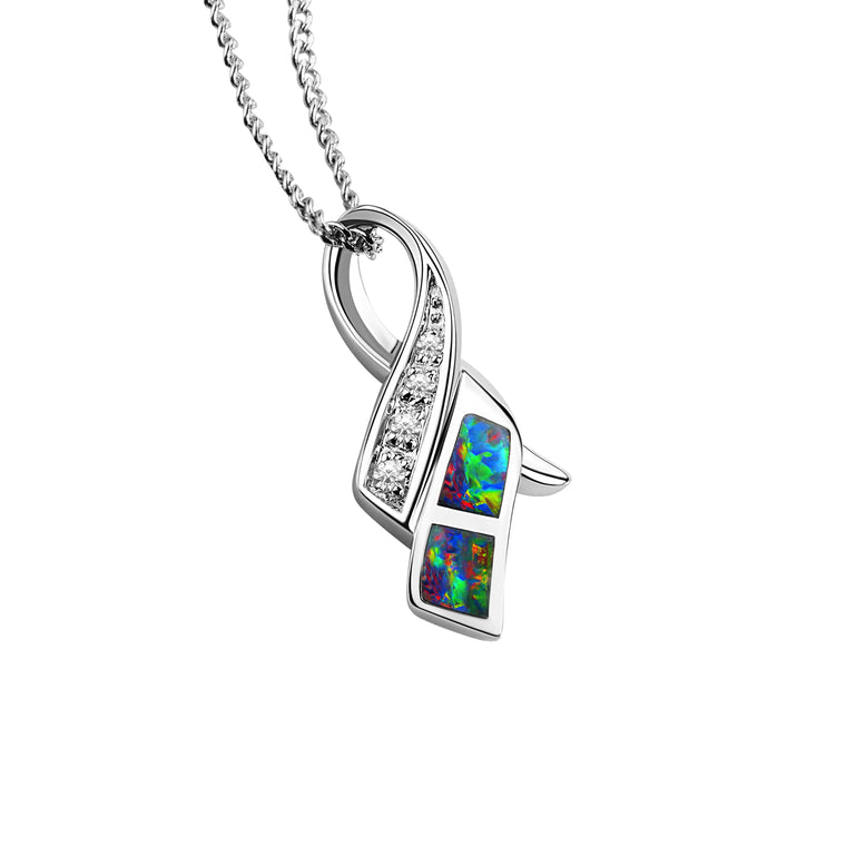 Australian Solid Inlay Opal Sterling Silver Pendant