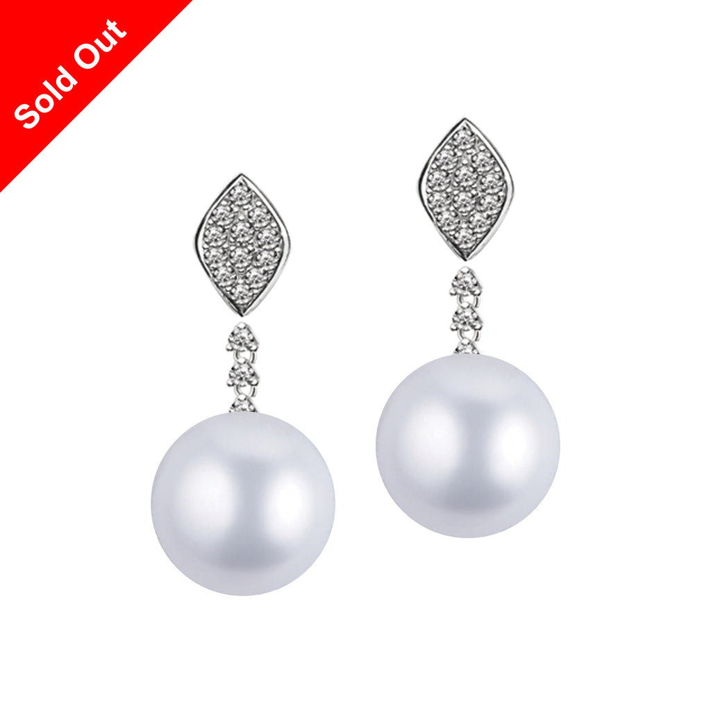 """South Pacific"" 18K White Gold & Diamond South Sea Pearl Earrings"
