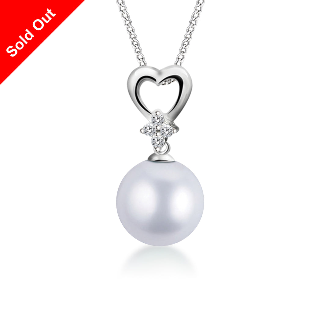 """South Pacific"" 18K White Gold & Diamond South Sea Pearl Pendant"