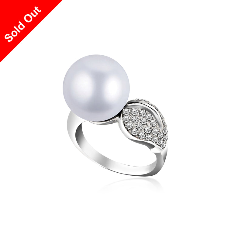 """South Pacific"" 18K White Gold & Diamond South Sea Pearl Ring"