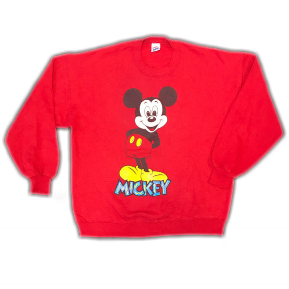 Disney Red 1990s Mickey Sweatshirt Wmns XL