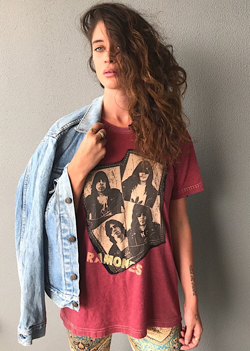 Ramones Washed Burgundy Distressed T-Shirt Women's Large