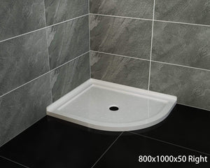 ELEGANT SHOWERS Extra Strong Acrylic Fiberglass Curved Shower Base-800x1000mm - Elegantshowers
