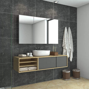 Bathroom Mirror Cabinet Wall Hung Shaving Storage Cupboard 1200x130x710mm - Elegant Showers