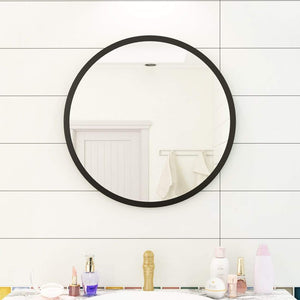 60/70cm Round Wall Mirror Metal Framed Bathroom Decor Leather Belt Optional