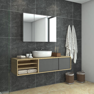Bathroom Mirror Cabinet Wall Hung Shaving Storage Cupboard 1000x130x710mm - Elegantshowers