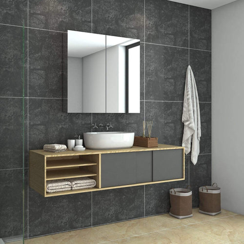Bathroom Mirror Cabinet Storage Polished Stainless Steel Wall Mounted 750x150x710mm - Elegantshowers
