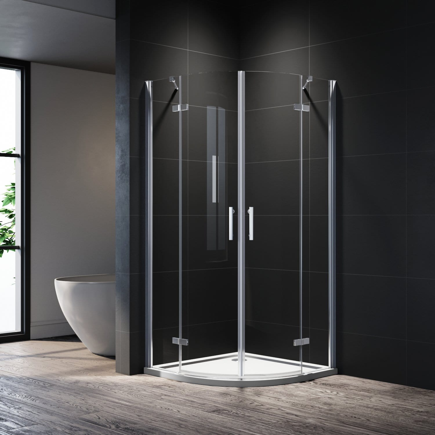 ELEGANT Frameless Curved Shower Enclosure Quadrant Cubicle Hinge doors 6mm Tempered Glass Nano Coating Easy to clean 900x900mm - Elegantshowers