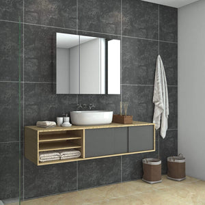 Bathroom Mirror Cabinet Storage Polished Stainless Steel Wall Mounted 900x150x710mm - Elegantshowers