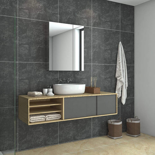 Bathroom Mirror Cabinet Wall Hung Shaving Storage Cupboard 600x130x710mm - Elegantshowers