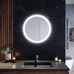 ELEGANT SHOWERS Round Bathroom Mirror LED Lighted Touch Switch Wall mounted Antifog - Elegantshowers
