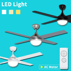 "1200mm 48"" Ceiling Fan AC 4 Blades With LED Light And Remote Control"