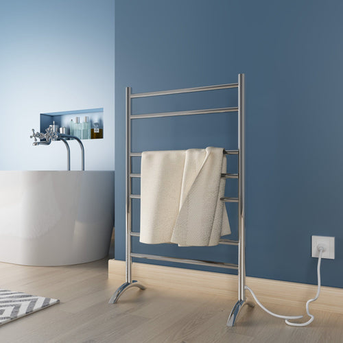 Elegant Showers Heated Towel Rail Freestanding Electric Warmer-Round 7 Bars