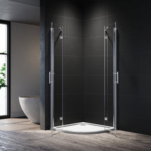 ELEGANT Frameless Curved Shower Enclosure Quadrant Cubicle Hinge doors 6mm Tempered Glass Nano Coating Easy to clean 900x900mm - Elegant Showers