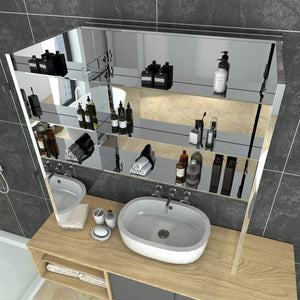 Bathroom Mirror Cabinet Storage Polished Stainless Steel Wall Mounted 750x150x710mm - Elegant Showers
