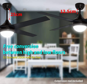 "1200mm 48"" Ceiling Fan AC 4 Blades With LED Light And Remote Control - Elegant Showers"