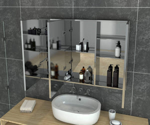 Bathroom Mirror Cabinet Storage Polished Stainless Steel Wall Mounted 900x150x710mm - Elegant Showers