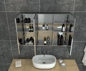 Bathroom Mirror Cabinet Wall Hung Shaving Storage Cupboard 1000x130x710mm - Elegant Showers