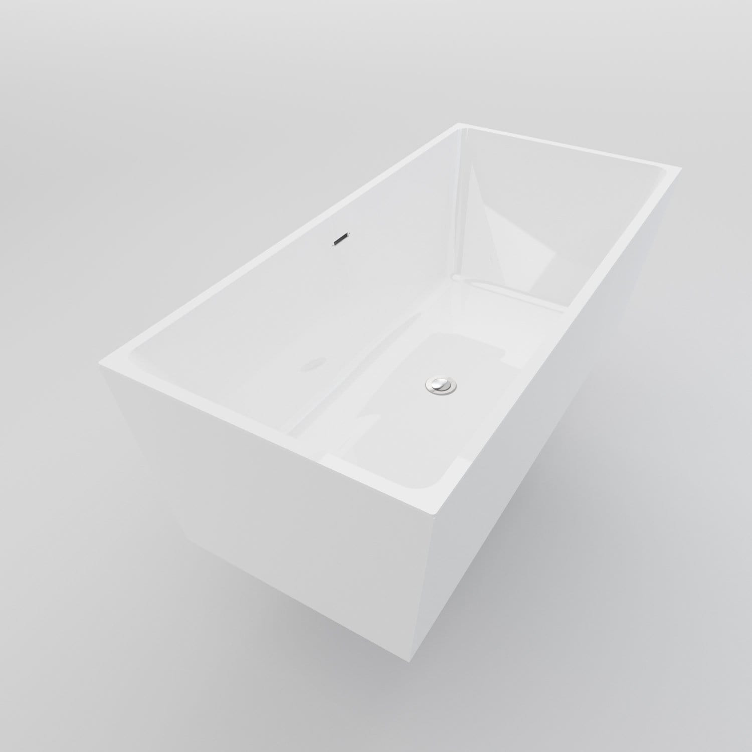 ELEGANT SHOWERS Bathroom Square Free Standing Bath Tub Acrylic ...