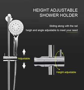 ELEGANT SHOWERS Round Hand Held Shower Head Spray Sliding Rail Set - Elegant Showers