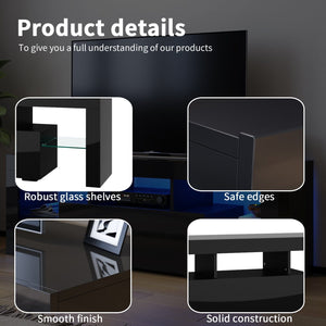 TV Cabinet Entertainment Unit Stand Gloss Furniture Black Handle-free ELEGANT - Elegantshowers