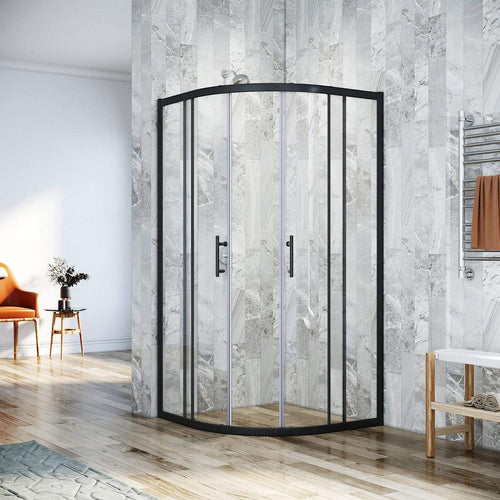 Curved Shower Screen Matt Black Quadrant Enclosure Base Optional 800/900/1000mm - Elegant Showers