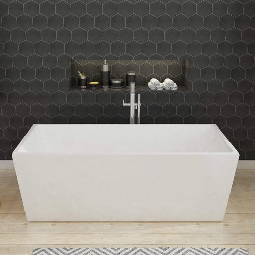 ELEGANT SHOWERS Bathroom Square Free Standing Bath Tub Acrylic-1500/1700x800x600mm - Elegantshowers